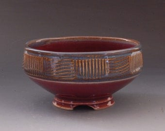 Handmade Blue and Plum  Stoneware Pottery Bowl by Mark Hudak