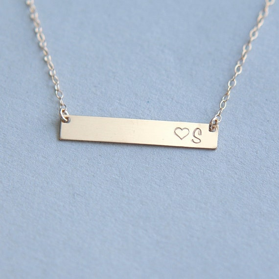 gold bar necklace bar necklace monogram bar by jewelleryjkw