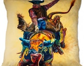 """Colorful Bull Rider - Throw Pillow - """"Rodeo Wild"""" - Artwork by TeshiaArt"""