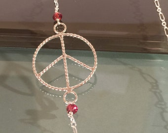 Peace Sign Necklace, sterling silver Peace Necklace