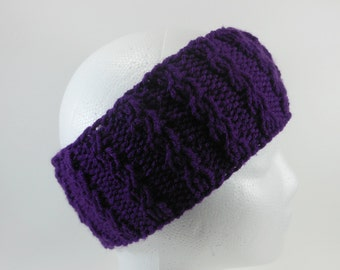 Purple Ear Warmer - Hand Knit Acrylic Winter Headband