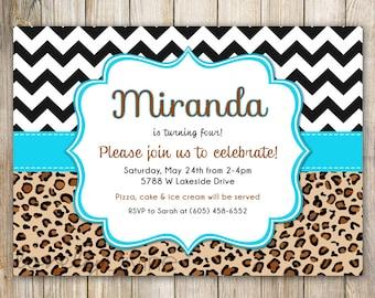 Leopard Turquoise Chevron Birthday Invitation, 1st Birthday Invitation, 2nd Birthday Invitation, 3rd, 4th, 5th, 6th, 7th, 8th, PRINTABLE
