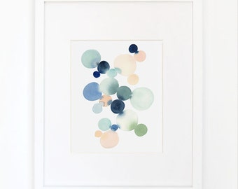 Cluster in Blue & Gray- Watercolor Art Print