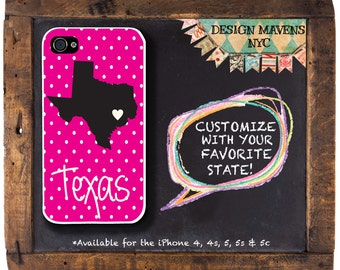 Texas Love iPhone Case, Personalized iPhone Case, Fits iPhone 4, iPhone 4s, iPhone 5, iPhone 5s, iPhone 5c, iPhone 6, Phone Cover