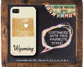 Wyoming iPhone Case, Personalized State Love iPhone Case, Fits iPhone 4,  iPhone 5, iPhone 5s, iPhone 5c, iPhone 6, NOT REAL GLITTER