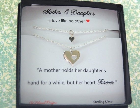 Wedding Gift For Bride Daughter : Mother Daughter Necklace, wedding gift for MOM, Heart necklace, Mother ...