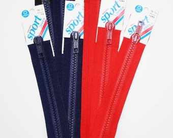 "Separating Sport Zipper, Coats & Clark Zippers, 16"" Separating Zipper, Red Zippers, Navy Zippers, Heavy Duty Sport Zippers, Jacket Zippers"