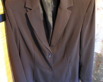 Women's Brown Fitted Blazer size 12 Two Button Front Career Jacket