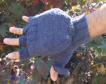 extra warm/ lined merino wool convertible gloves/ glittens/ flip top mittens/12 color choices including camo/made to order for men and women