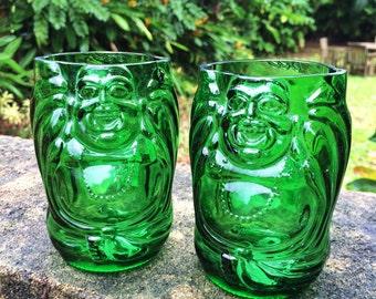 Green Lucky Buddha beer bottle glasses (Set of 2)