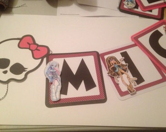 Monster High Birthday Banner with Name and Age