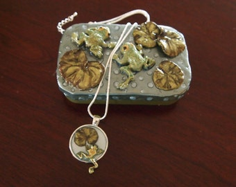 Polymer Clay  Altoid Tin Frog Gift or Trinket Box with Frog Necklace