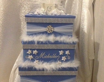 Quinceanera birthday cards box, secured card box, locking card box  birthday card box, princess card box