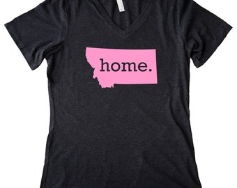 V Neck Montana Home State T-Shirt Women's PINK EDITION Triblend Tee - Sizes S-XXL