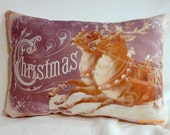 Christmas Pillow - Christmas - X-mas pillow - Christmas gift - vintage Christmas Reindeer - Santa Clause - Holiday pillow - throw pillow