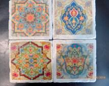 Travertine Coasters - Stone Coasters - Decorative tile coasters - set of 4 - Marble coasters - Moroccan Tile - coasters