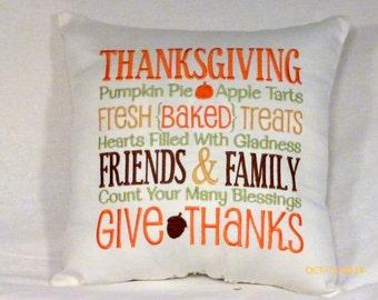 Thanksgiving Pillow - Autumn decorations - Embroidered Subway art - embroidered pillow - Accent Pillow - Fall Pillows - Thanksgiving pillow