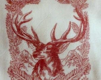 Christmas Towel - Deer Towel - Tea Towel - Flour Sack Towel - Kitchen towel - dish towel - 100% cotton - Pine Cones - Buck