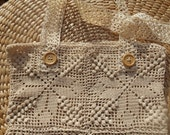 Hemp Cotton Lace Bag Handmade Crocheted Natural French Purse Wood Buttons Antique Off White Lace Strap Braids