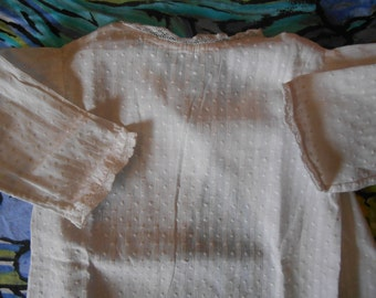 1900's White Dotted French Baby Dress Handmade Victorian Baby White Cotton Shirt Dress Lace Trimmed