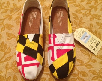 MARYLAND FLAG Custom painted colored shoes Toms
