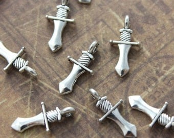 20 Tiny Dagger Charms Dagger Pendant Antiqued Silver Tone Double Sided  16 x 8 mm
