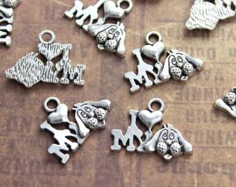 10 I Love My Dog Charms I Love My Dog Pendants Antique Tibetan Silver Tone 10 x 18 mm