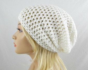 White Slouchy Beanie, Womens Crochet Slouchy Hat, Slouchy Winter Hat, White Crochet Beanie, White Crochet Hat