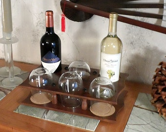 Wine Bottle & Stemless Glass Caddy