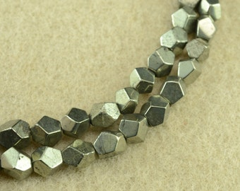 Natural golden Iron Pyrite faceted nugget beads 5-6mm,15 inches full strand
