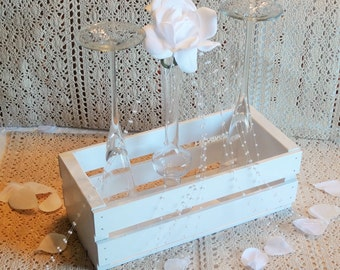 Wedding Centerpiece-Wooden Crate-Wedding Display-White-Customizable-Rectangular
