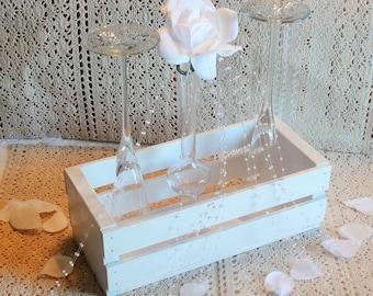 Wedding Centerpiece-Wooden Crate-Wedding Display-White-Customizable-Rectangular