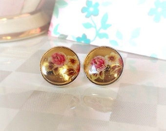 Pink Rose Earrings | Sterling Silver | Vintage Limoge Cameo | Post Earrings | Pink | Gold Foiled Cabochon