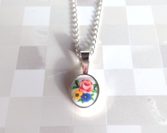 Silver Necklace | Oval Floral Bouquet | Vintage Porcelain Limoge Cameo | Red, Yellow, Blue | Flower Cameo | Sterling Silver | Cute Necklace