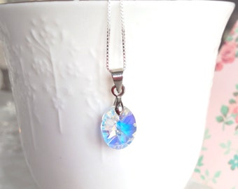 Sterling Silver and Swarovski Crystal Pendant Necklace, Clear AB Crystal, With 18in Sterling Silver Chain