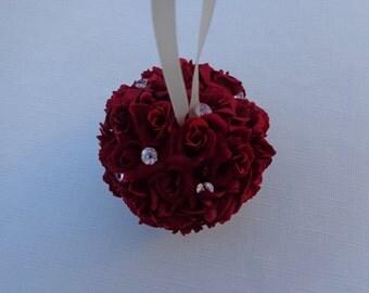 Flower girl kissing ball designed with red roses