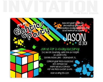 80's party invitations, 80's Birthday Party Invitations, personalized thank you cards, birthday invitations, party invitations / No.339