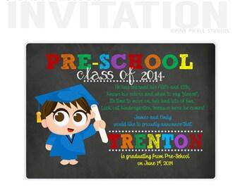 Preschool Graduation Invitations, Pre-School Graduation, personalized thank you cards, birthday invitations, party invitations / No.428