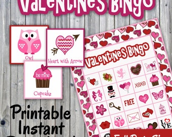 Valentines Day Bingo Printable PDF - 30 different Cards - Full Page Size - Valentines Memory Game - Party Game Printable - INSTANT DOWNLOAD