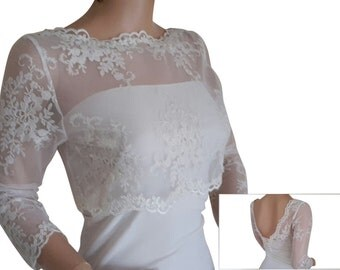 Ladies Ivory  Lace Bolero/Jacket sizes 8, 10 ,12,14,16 & 18