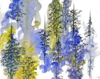 """Original Charcoal and Watercolor Painting, Blue and Yellow Trees - """"Charcoal Trees Three"""" by Emily Magone"""