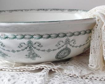 Antique Wash Bowl MADDOCK & SONS Ltd. British dark green white big Victorian cottage faience