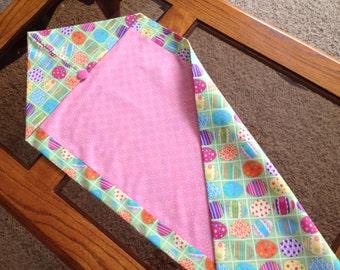 Easter Table Runner, Handmade Pink & Pastels Fabric Table Runner, Easter Decor