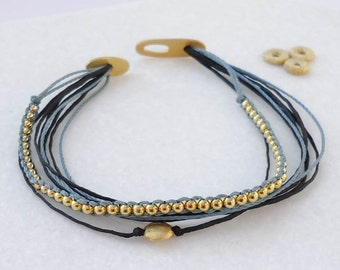 Braided Bead Bracelet- Gold plated Stacking bracelet