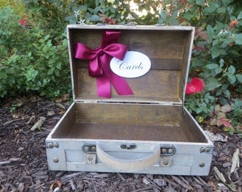 Pick Your Ribbon - Shabby Chic Cream Wedding Trunk, Wedding Card Holder, Card Box, Money Holder,  Wedding Suitcase, Rustic Wedding Box