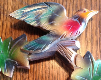 Vintage wooden bird cuckoo clock topper colorful