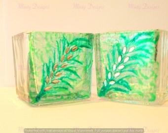 Square tea light holders - Gorgeous Green