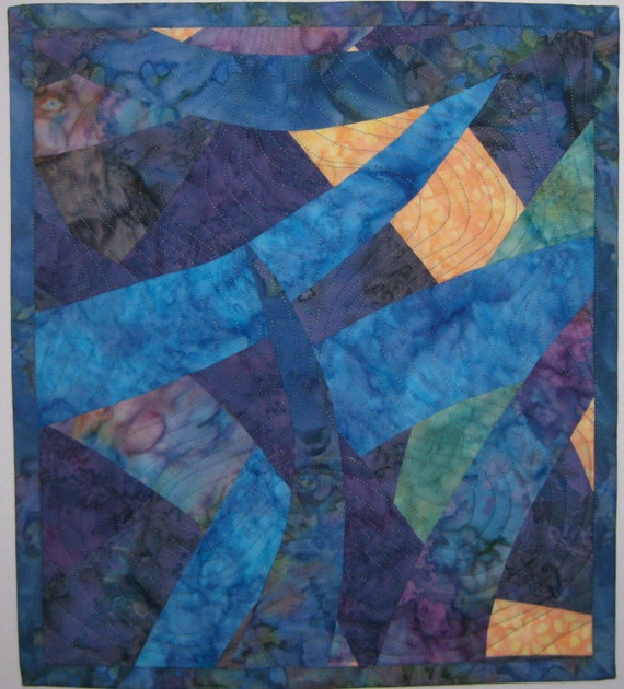Art Quilt Ocean, Quilted Wall Hanging