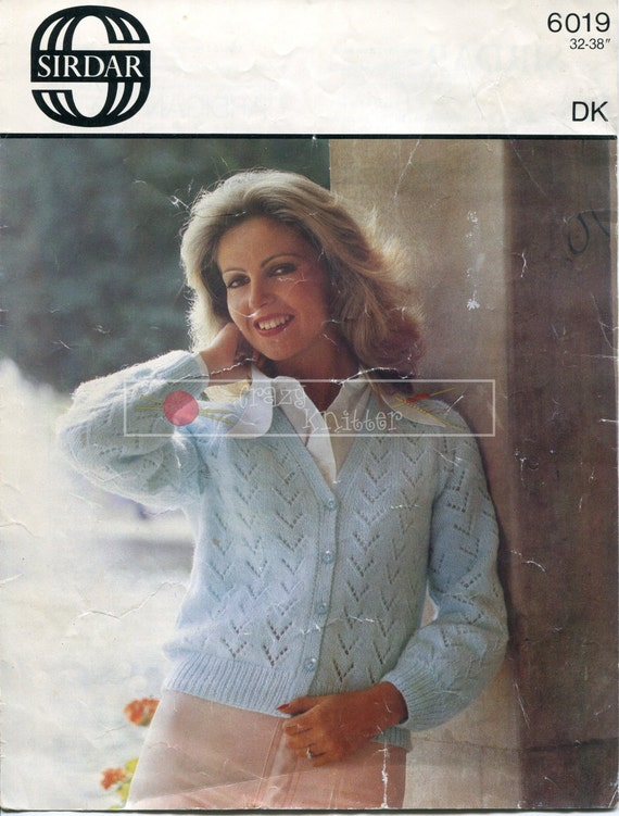 Lady's Lace Cardigan DK 32-38in Sirdar 6019 Vintage Knitting Pattern PDF instant download