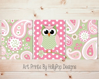 Owl Nursery Art Pink Green Nursery Decor Paisley Art Prints Baby Girl Nursery Toddler Girls bedroom Wall Art Set of 3 prints #0957